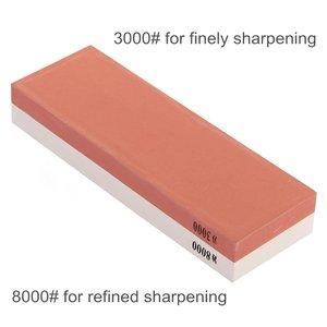 Image 4 - Точильный камень, столовые приборы, 3000/8000 зернистость, двусторонний точильный камень, комбинация, водяная точилка с резиновым держателем камня в комплекте