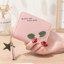 2019 new short ladies wallet New minimalist student small wallet flower zipper change wallet quality assurance