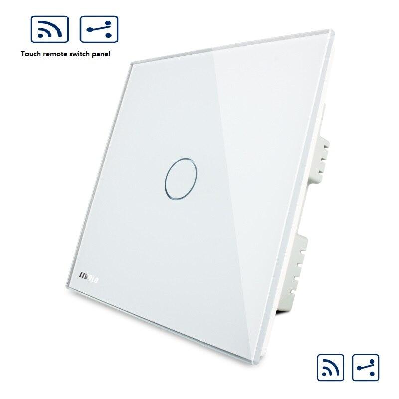 86mm tactile télécommande double panneau de commutation 220 V mur intelligent interrupteur prise double commande à distance tout le chemin