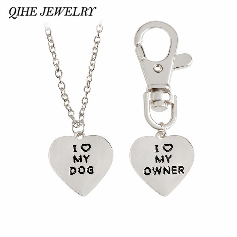 """QIHE Juvelierizstrādājumi 2gab / set """"I love my dog, I love my īpašnieks"""" Heart Charm Kaklarota un apkakles Dog-Human Jewelry Dog Lover dāvanas"""