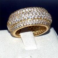 Marka 925 Srebro & GOLD PAVE USTAWIANIE PEŁNA 360 sztuk Diamant WIECZNOŚCI ZESPOŁU ZARĘCZYNY ŚLUB Kamień Pierścionki Rozmiar 5,6, 7,8, 9,10