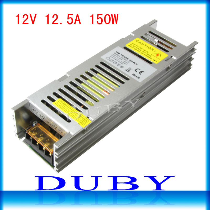 20piece/lot 2015 New 12V 12.5A 150W Switching power supply Driver For LED Light Strip Display AC100-240V best qulity  Free Fedex 90w led driver dc40v 2 7a high power led driver for flood light street light ip65 constant current drive power supply