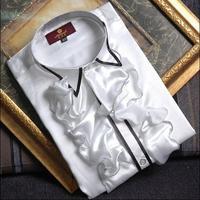 Crazy promotion ! Golden lacines shirt men singer dance camisa masculina social star style dress mens shirt new arrival designer