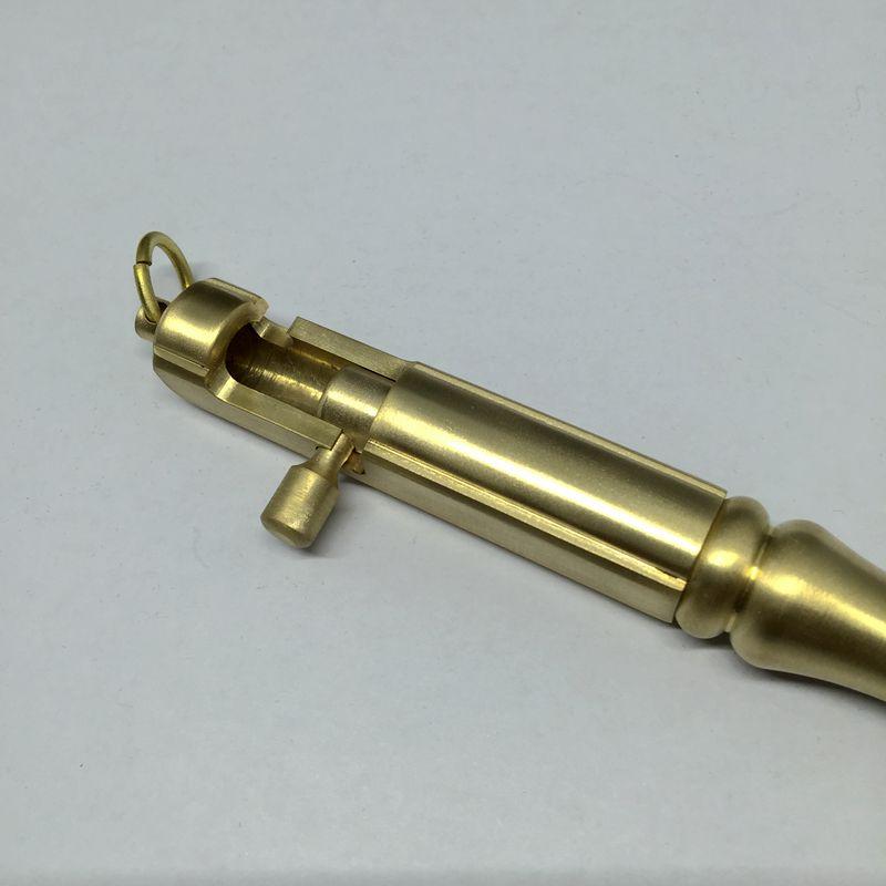 Pluma de Metal portátil sólida de latón hecho a mano, pluma de máquina táctica de grasa, herramienta EDC, pluma de Gel para exteriores, regalo creativo - 5