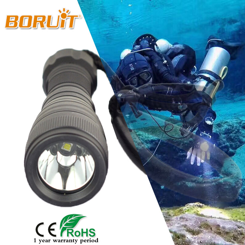 BORUIY XML L2 LED 2000LM Diving Flashlight 150M Underwater Torch Scuba Dive Light Waterproof 18650 Battery For Adventure Fishing powerful underwater flashlight led scuba diving lanterna xml l2 waterproof led torch dive light 18650 26650 rechargeable battery