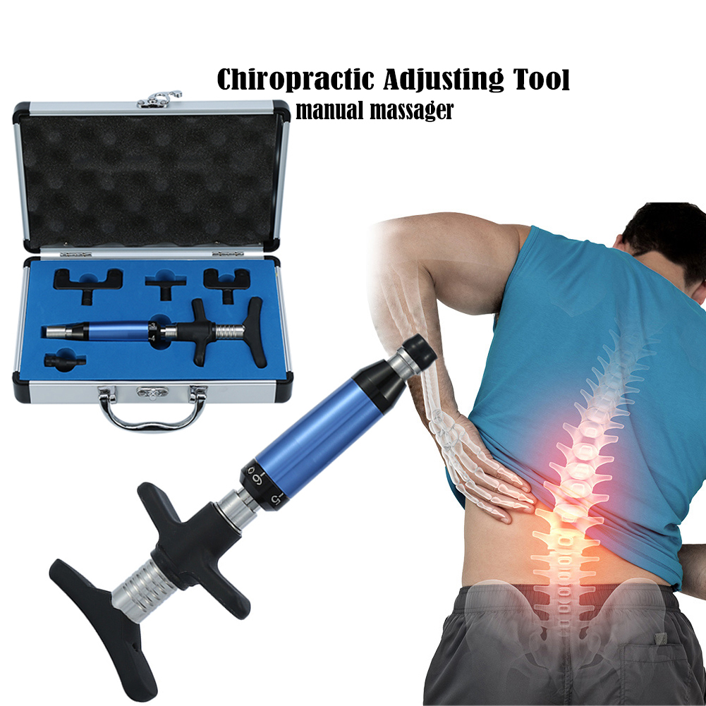 Manual Chiropractic Corrector Adjusting Therapy Spine Activator Correction Massager 6 Levels Health Care Massager Manual Gun Set manual chiropractic adjusting tool 6 levels 4 heads spine impulse back activator therapy backbone corrector instrument massager