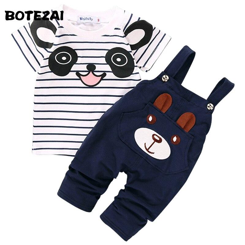 Лето 2017 г. Комплект одежды для маленьких мальчиков с рисунком панды для маленьких мальчиков с коротким рукавом футболка + штаны-комбинезон к...