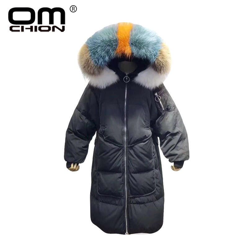 OMCHION Ropa Mujer Invierno 2018 Colorful Raccoon Fur Duck   Down     Coat   Loose Thicken Winter Jacket Women Casual Brand Parka QY19