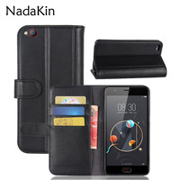 For ZTE M2 Lite Retro Magnetic Wallet Genuine Leather Case For ZTE Nubia M2 Lite Flip