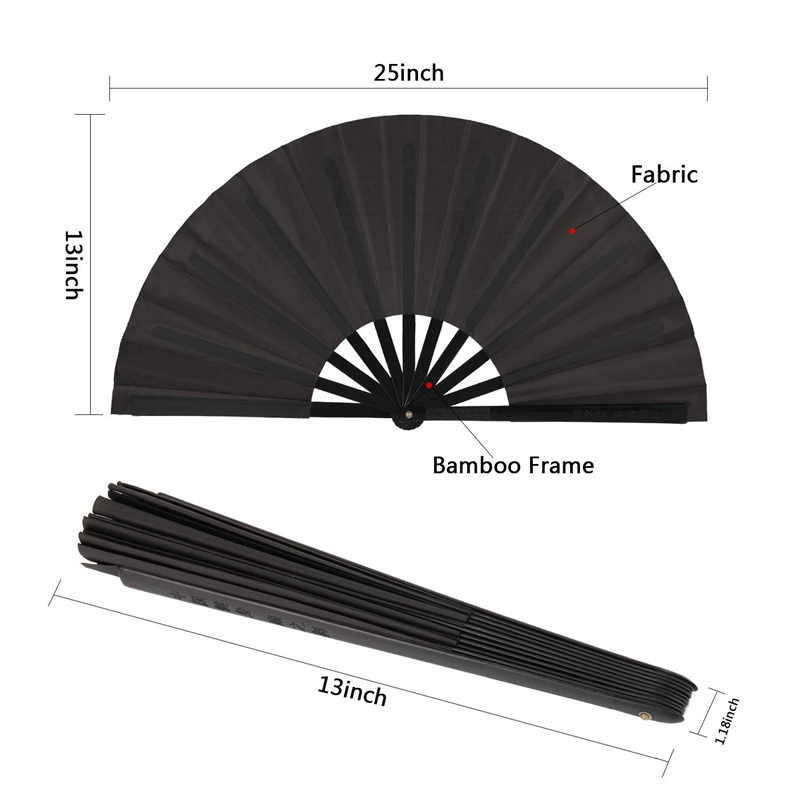 Image 2 - 2 Pieces Large Folding Fan Nylon Cloth Handheld Folding Fan Chinese Kung Fu Tai Chi Fan Black Decoration Fold Hand Fan For Par-in Decorative Fans from Home & Garden
