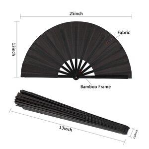 Image 2 - 2 pezzi di Grandi Dimensioni Pieghevole Fan Telo di Nylon Portatile Pieghevole Fan Cinese Kung Fu Tai Chi Fan Nero Decorazione Piega A Mano ventilatore Per Il Par