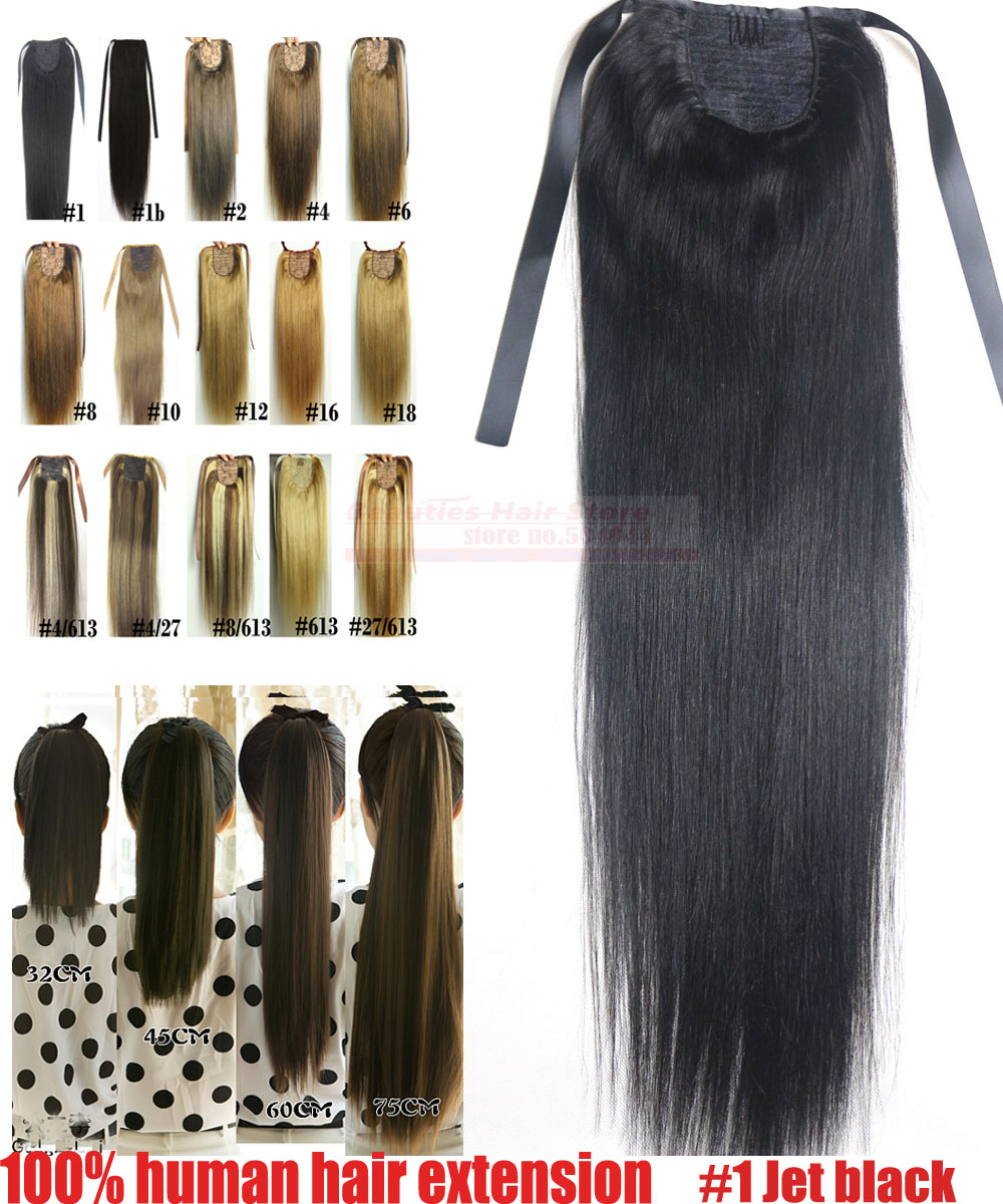 "16""-32"" 100% Brazilian Remy hair Clips In/on Human Hair Extensions Horsetail Ponytail #1 jet black 80g 100g 120g140g"