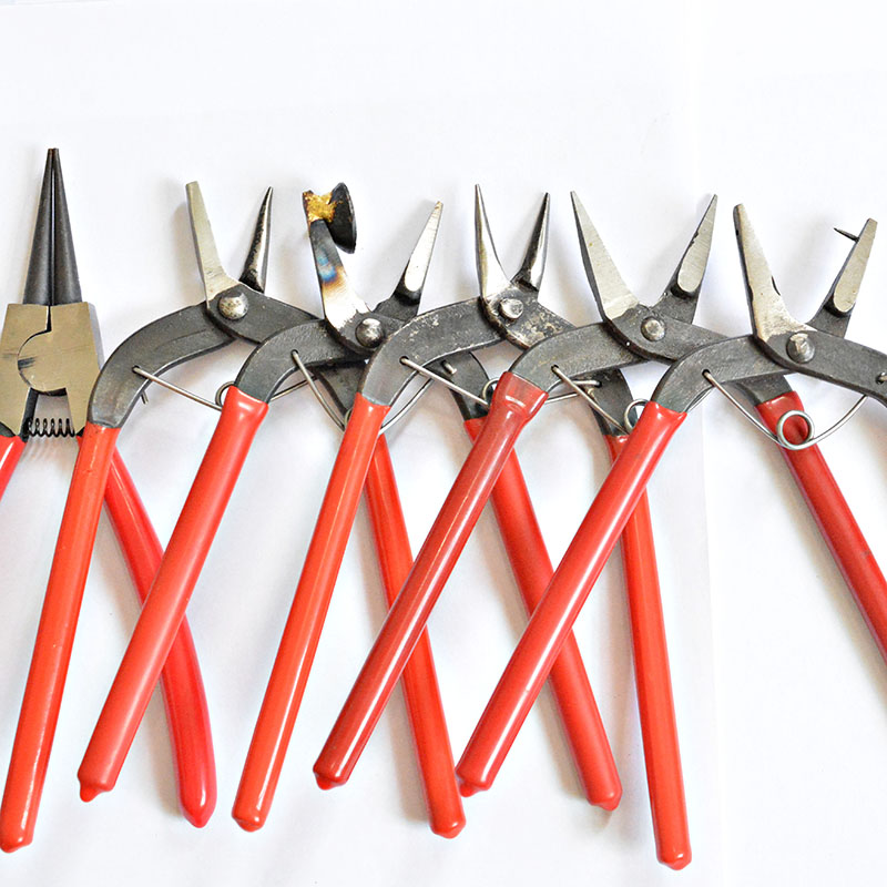 Red Long Handle / Perforated / Drill / Sharp / Flat Jewelry Pliers Tools & Equipment Kit DIY Jewelry Kit