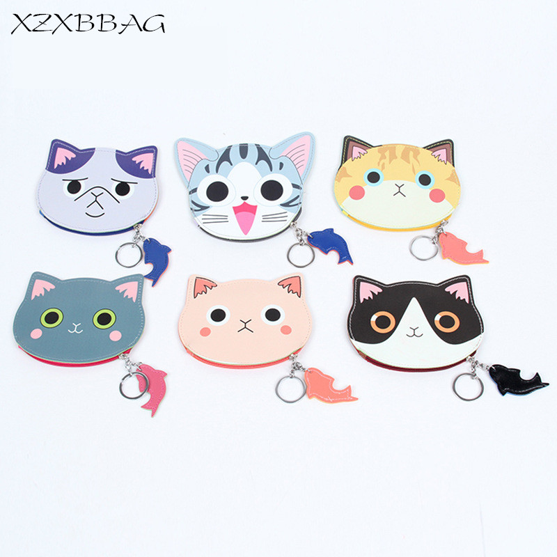 XZXBBAG Female Cartoon Cat Zipper Coin Purses Girls Cute Mini Oval Zero Wallet Students PU Change Pouch Key Bags Card Packet