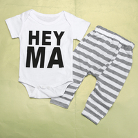 Two Piece Baby Clothing Set Summer Baby Boys Clothes Infant White Baby Tops T-shirt Striped Pants Outfits