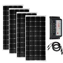 Solar Panel 400w 48v Module 12v 100w 4pc Charge Controller 12v/24v 30A Home Kit Motorhome Car Camping Caravan