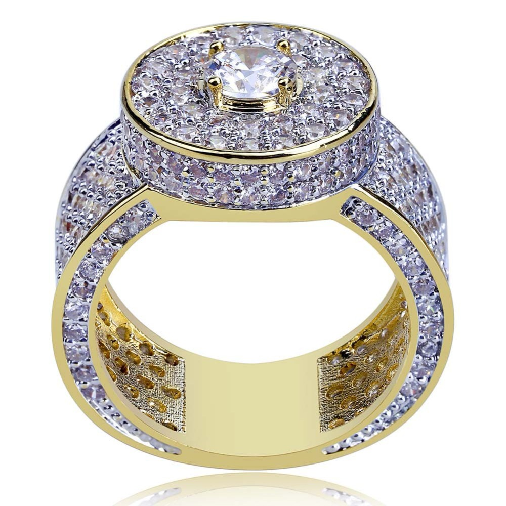UWIN Round Head Classic Rings Puffed Marine Micro Bling Iced Out Cubic Zircon Luxury Fashion Hiphop Jewelry Gift
