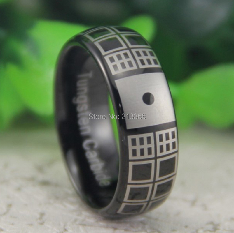 Cheap Price Free Shipping USA Canada Hot Selling 8MM Black Dome Doctor Who Design The Lord Mens Fashion Tungsten Wedding Ring