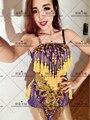 2015 mujeres por encargo púrpura una sola pieza borla conjunto traje cantante DJ danza ds traje traje estrella discoteca vestido