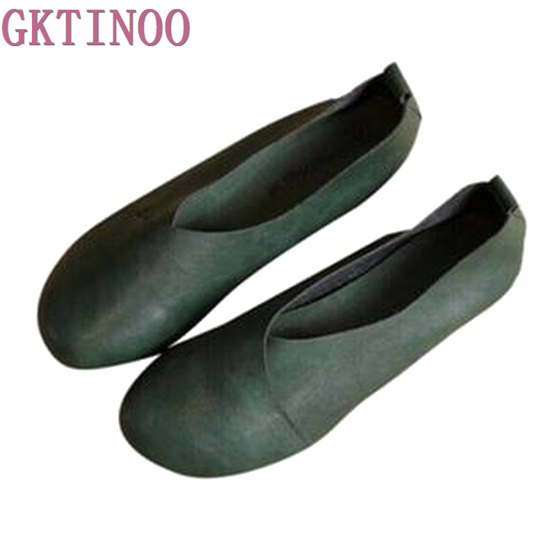 2018 Vintage Handmade Flat Shoes Woman Shallow Mouth Loafers Flexible Spring Casual Shoes Women Flats Women Shoes imc vintage women flat shoes white us4 eur35 length 22 5cm