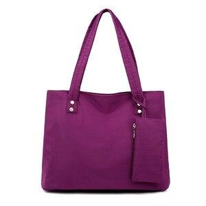 Image 2 - Оксфордская Большая вместительная длинная сумка через плечо, сумка тоут для покупок, пляжная сумка с верхней ручкой, Женский комплект 2 шт., дизайнерские нейлоновые сумки