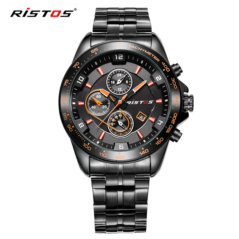 sport watch men ristos brand military stainless steel band waterproof quartz watch with calendar. Black Bedroom Furniture Sets. Home Design Ideas