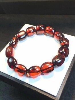 Certificate Natural Amber Blood Red Gemstone Oval Beads Bracelet Drop Shipping Woman Man Healing Stone Reiki Power Stone AAAAA