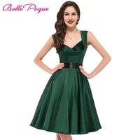 XXL Plus Size Vintage Rockabilly Dresses 2016 Summer Emerald Green Red Robe De Audrey Hepburn Dress
