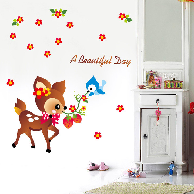 Decoratie Stickers Kinderkamer.Cartoon Herten Muurstickers Kleuterschool Muur Apparaat Stickers