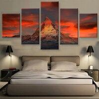 5 panel HD baskılı tuval boyama kırmızı dağ tuval baskı oturma odası için sanat Modern ev dekor duvar sanatı resimleri F0707