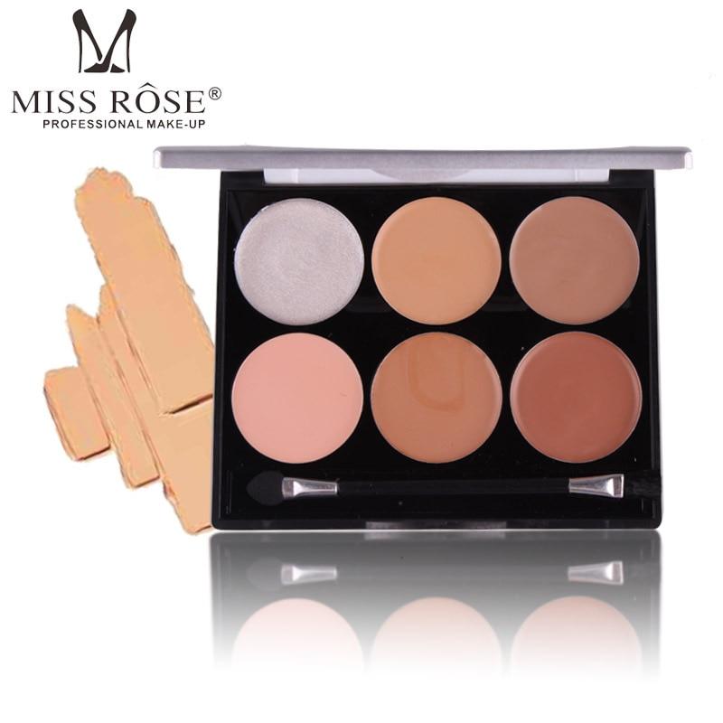 Fräulein Rose 6 Farbe Gesicht Foundation Make-Up Concealer Palette Basis Kontur Kit Highlighter Creme Lange Anhaltende
