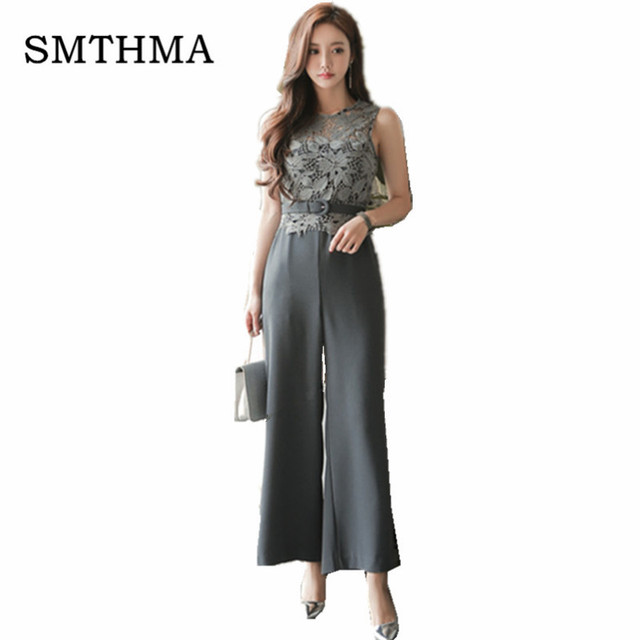 Smthma 2017 Women Lace Patchwork Jumpsuits Sleeveless Rompers Ladies