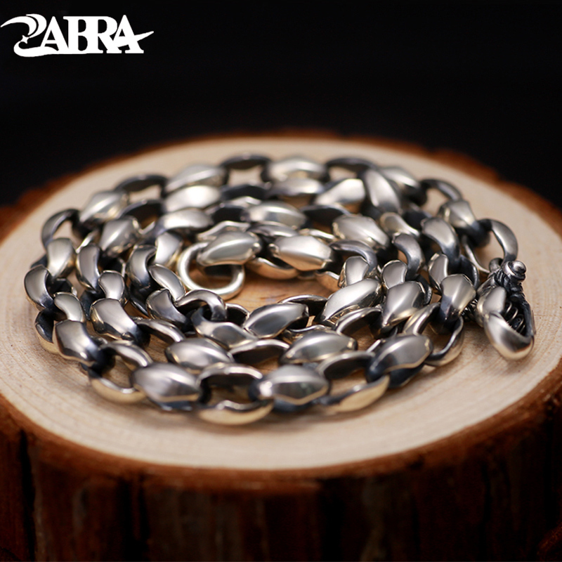ZABRA Luxury Solid 925 Silver Thick 8mm 55cm Vintage Biker Men Chain Necklace Punk Cool Thai Silver Process Handmade Men Jewelry