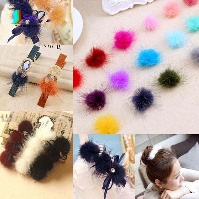 Colorful Mink Rabbit's Hair Puffer Fuzz Ball Pompon DIY Hand Bow Hair Pin Decoration Accessories Material S0108N