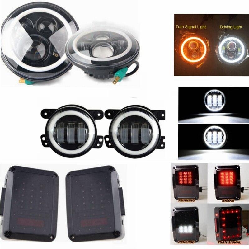 Hi Power 40W White Amber halo LED Headlights/Smoken LED Tail Lights/ White halo 4 Inch Led Fog Light For 07 15 Jeep Wrangler