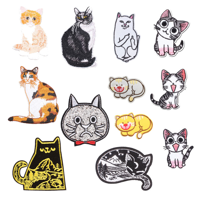 DIY Animal Cat Embroidery Sew on Iron on Patches Badge Clothes Fabric Appliques