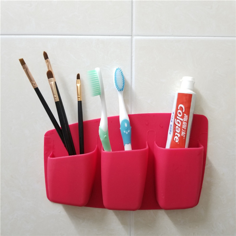Boxes Storage-Box Makeup-Brush Home-Gadgets Self-Adhesive Creative Three-Bags Suction-Cup