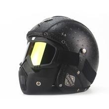 2017 Leather Harley Helmets 3/4 Motorcycle Chopper Bike helmet open face vintage motorcycle helmet with goggle mask motocross