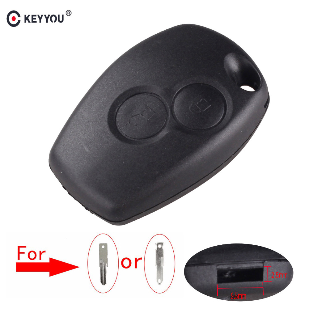 KEYYOU No Blade 2 Button Key Shell Case For Renault Megane Modus Espace Laguna Duster Logan DACIA Sandero Fluence Clio Kangoo keyyou without blade 2 buttons car key shell remote fob cover case for renault dacia modus clio 3 twingo kangoo 2 with logo