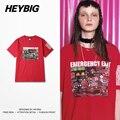 Аварийный выход Азиатской молодежи Хип-хоп Футболки Красный Хлопок Тройник Большой Двор уличная мужчины и женщины Пара футболки Китайский размер