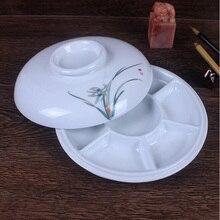 Круговой Керамика Палитры цветок сливы китайская живопись каллиграфия пигмент с крышкой