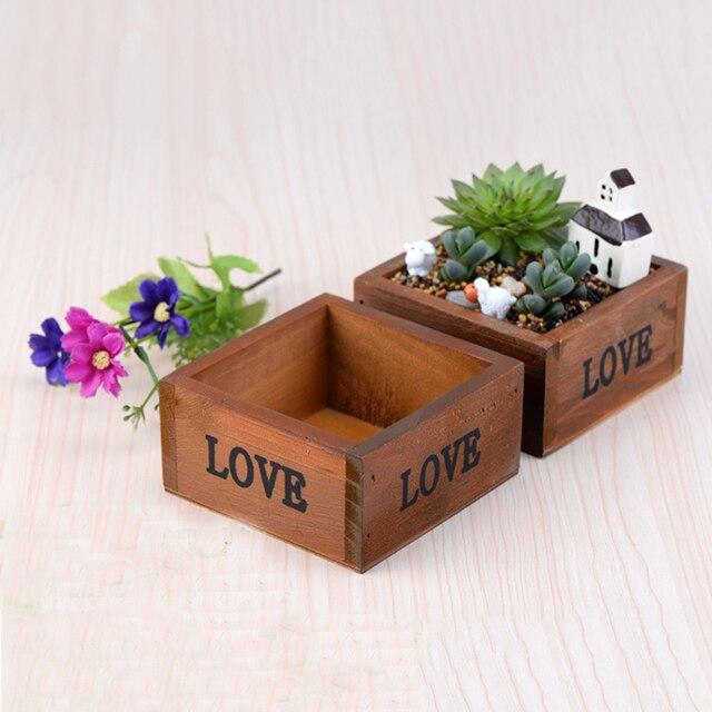 Legno vaso di fiori di simulazione piante grasse - Vasi per piante grasse ...