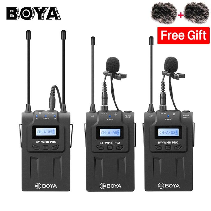 BOYA BY-WM8 Pro K2 A Doppio Canale Wireless Lavalier Microfono Sistema per il iphone per fotocamere REFLEX digitali Canon Nikon Intervista di Trasmissione