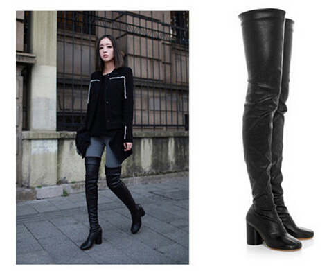 9370885acf9 US $74.0 |Stretch Leather Women Thigh High Boot Soft Leather Slim Elastic  Over the knee boots Rough Heel Erotic Women Legging Boots in Stretch  Leather ...