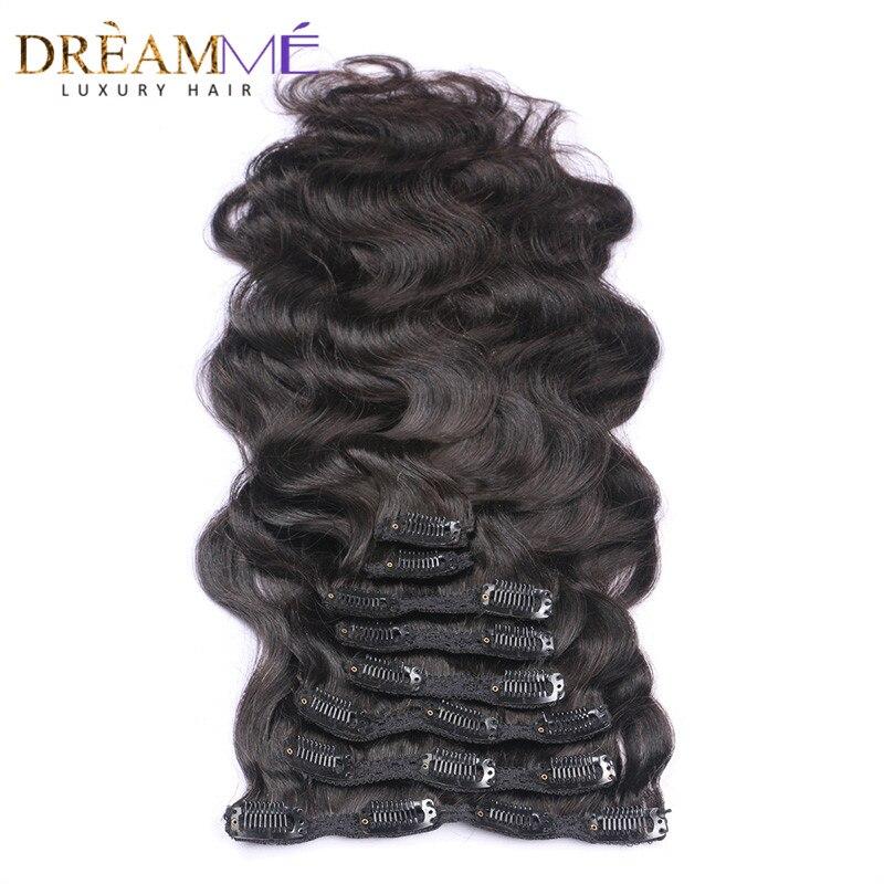Clip de vague de corps en couleur naturelle Extensions de cheveux humains Clips d'armure brésiliens dans les cheveux 120g fait à la Machine Remy rêvant cheveux de reine