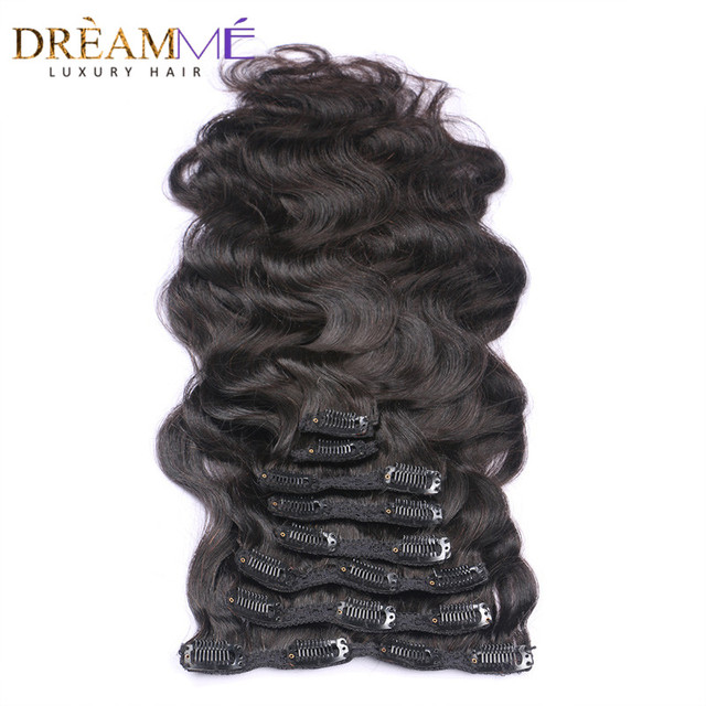 Body Wave Clip In Human Hair Extensions Brazilian Weave Clips In