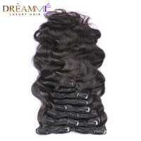 Body Wave Clip In Human Hair Extensions Brazilian Weave Clips In Hair 120g Machine Made Remy Dreaming Queen Hair