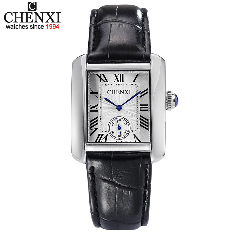 купить Small Dial Work Brand Tag CHENXI Casual Watches Classic Black Leather Square Quartz Couple Watch Fashion Men & Women Watch Hours недорого