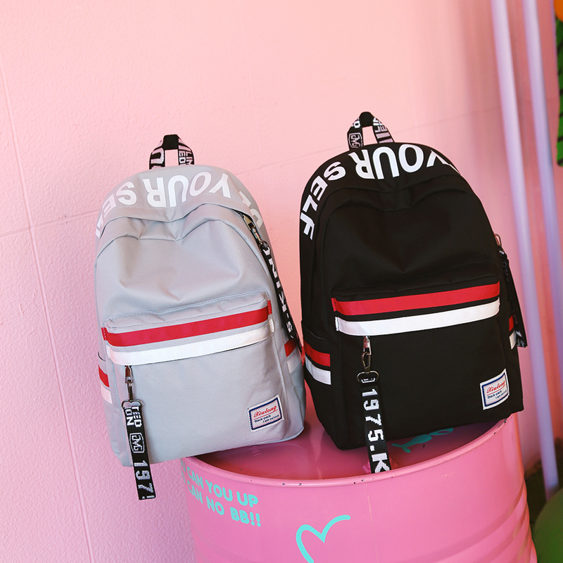 Image 2 - Strips Backpack Preppy Style Black Letter School Backpack For Teenage Girls Japanese and south Korean style Leisure Travel Bag-in Backpacks from Luggage & Bags