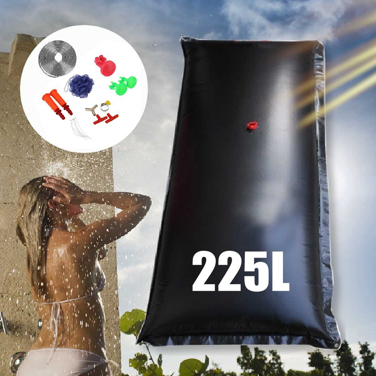 225L Portable Outdoor Camping Shower Bag Solar Heated Shower Bathing Picnic Water Bag Water Storage For Travel Hiking BBQ